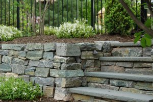 Landscape - stone steps and retention wall