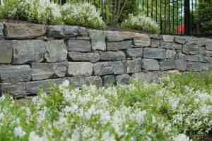 Landscape project - stone retention wall