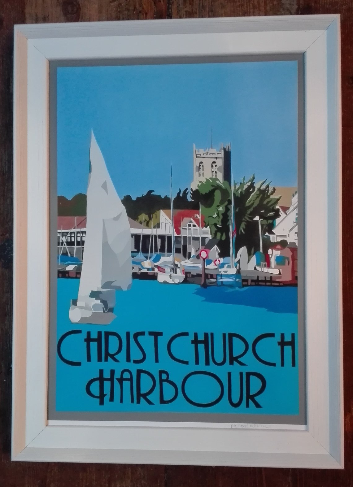hanging chair christchurch gravity recliner outdoor uk vintage style framed harbour print