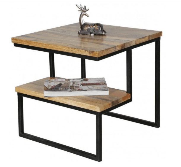 contemporary side table in rustic light mango wood