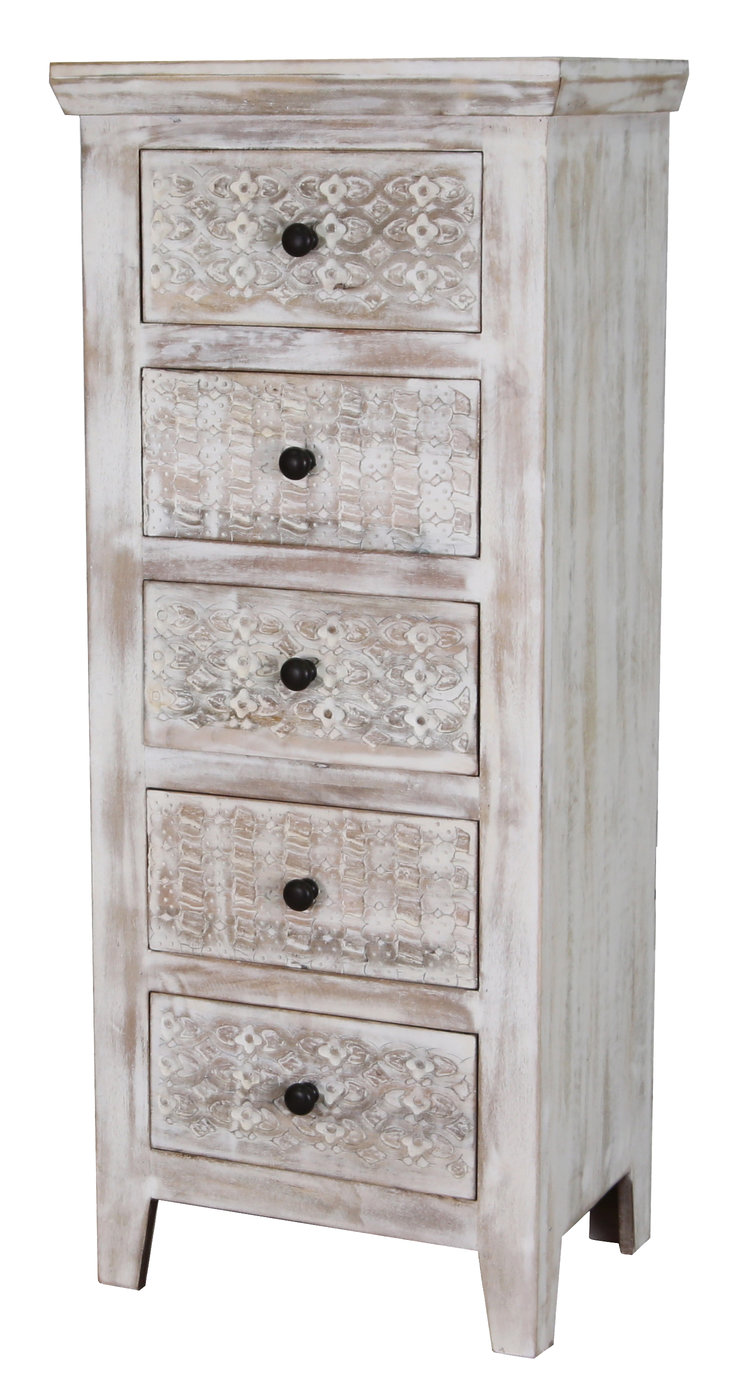 Limed washed carved mango wood chest of drawer  tallboy
