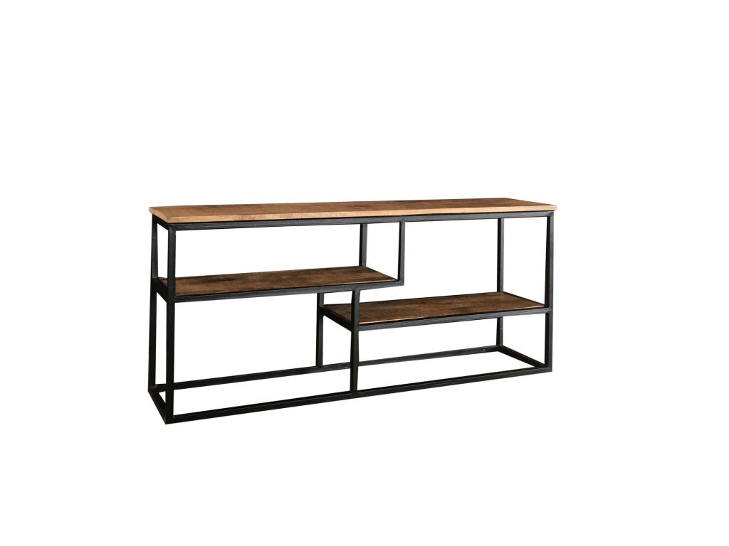 Industrial Style Light Mango Wood Media Unit With A Metal