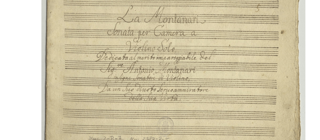 Valentini.  Sonata in A Major Mus.2387-R-5. Cover page.