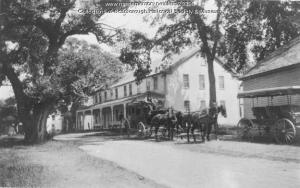 Photo of Prout's Neck House (Middle House) and Seavey's Stage Coach, ca. 1900.