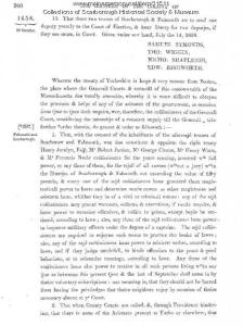 Massachusetts Bay Charter of Scarborough and Falmouth becoming a town in 1658