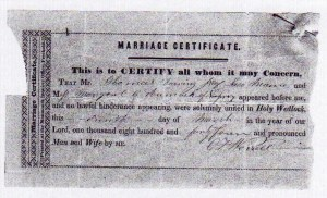 Image of Marriage Certificat for Thomas Dearing, Jr. and Margaret C, Aumock.