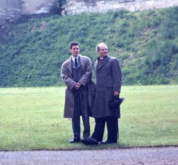 Linus and Peter Pauling at Warwick Castle, England. 1948.