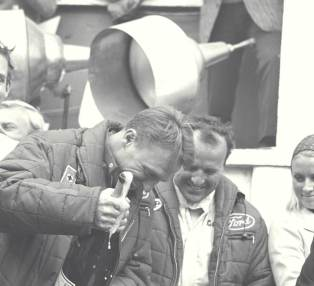 Dan Gurney and AJ Foyt on victory rostrum at the 24 Hours of Le Mans in 1967