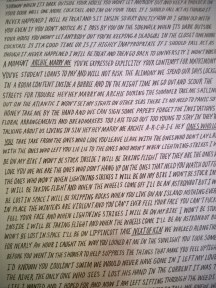 The lyric sheet on the Alvvays vinyl I picked up from Rise Records.