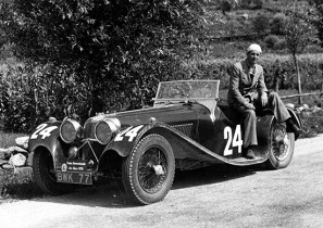 Tommy Wisdom prepares for the 1936 Alpine Trial with his SS100 Jaguar