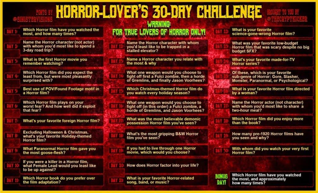 Horror 30 Day Challenge