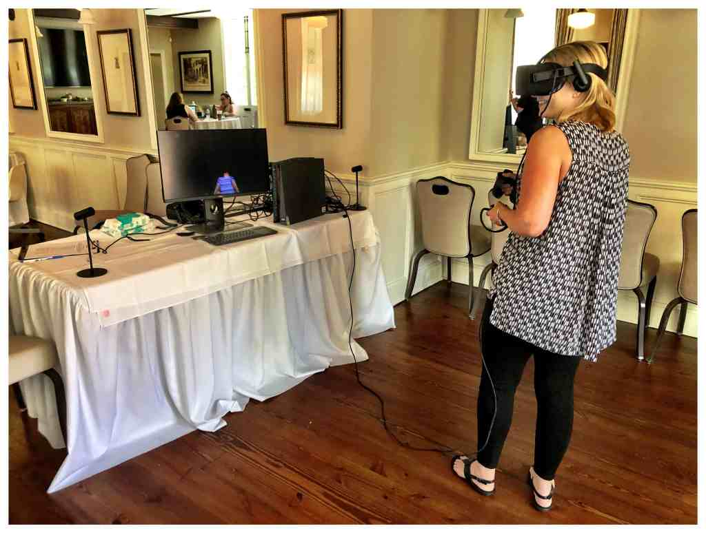 Liz Williams trying out a VR Experience at The Overlook Film Festival (2019).