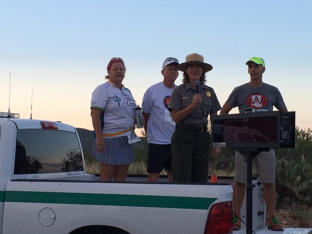 Saguaro National Park Superintendent Darla Sidles welcomes racers.