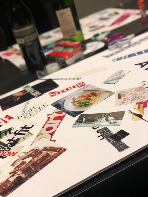 2019 vision board with magazine clippings