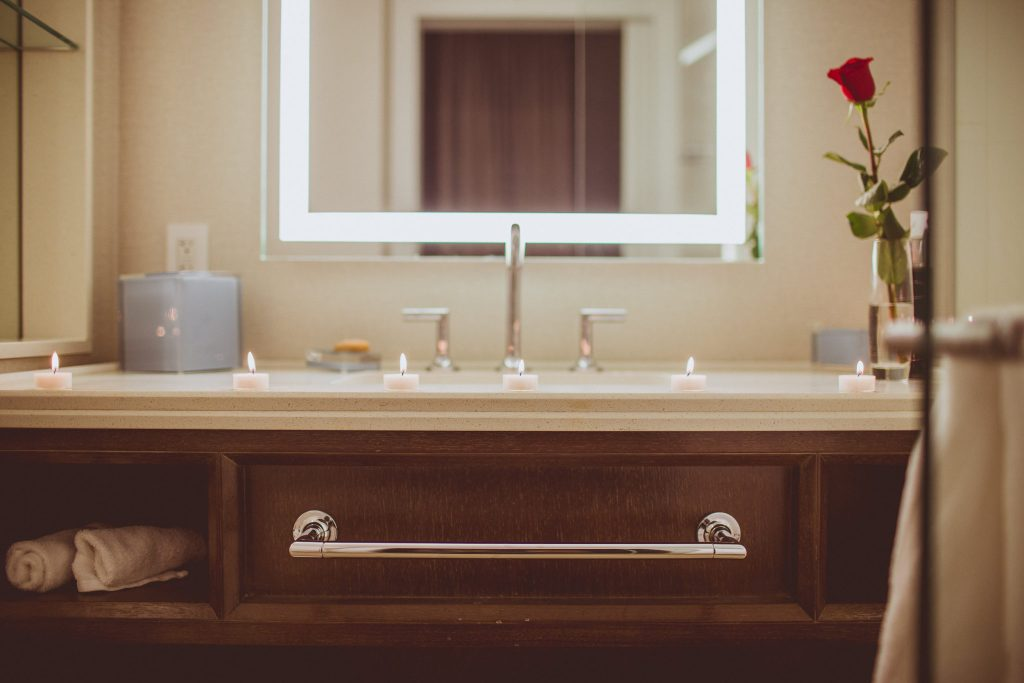 sink styled for Valentine's Day