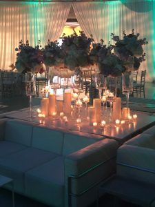 Swan House Ball table setting with candles