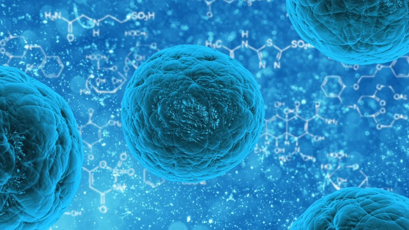 cartoon drawing of human cells that are blue