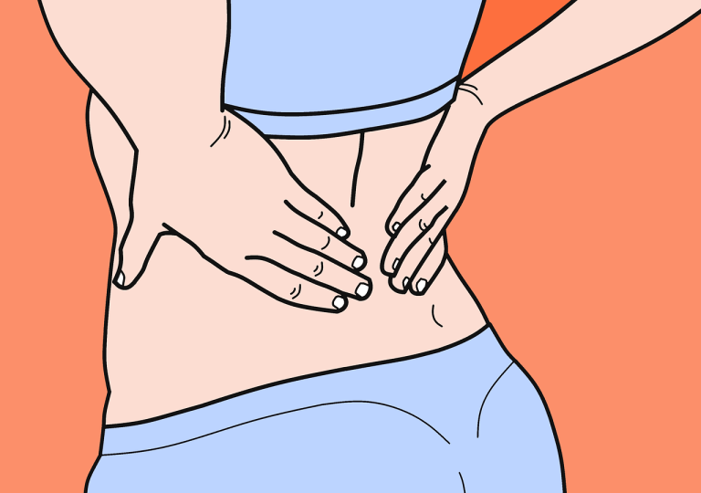 Cartoon drawing of a woman's back, her hand resting on her lower back.