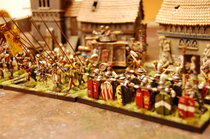 A regiment of pike (spearmen) and supporting crossbowmen from the Tilean peninsula.