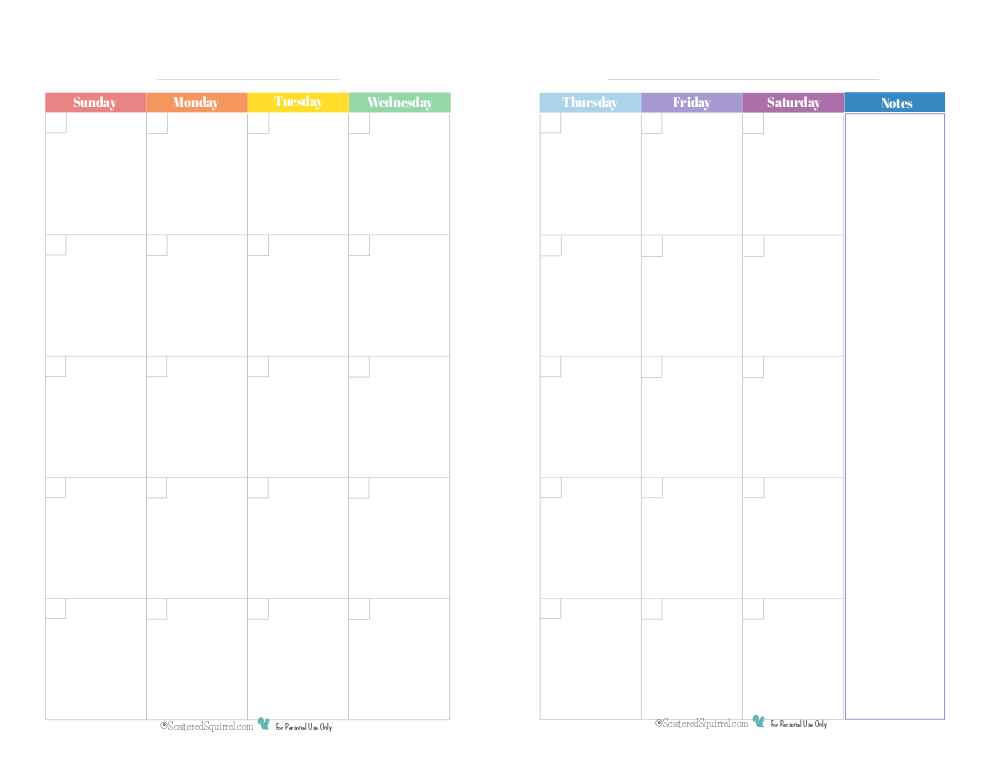 two page monthly calendar template