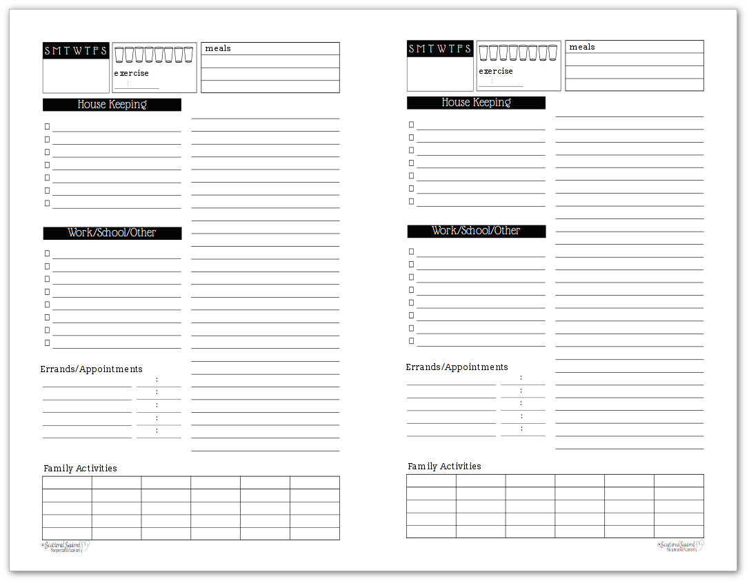 Black And White Daily Task List Planner Printables