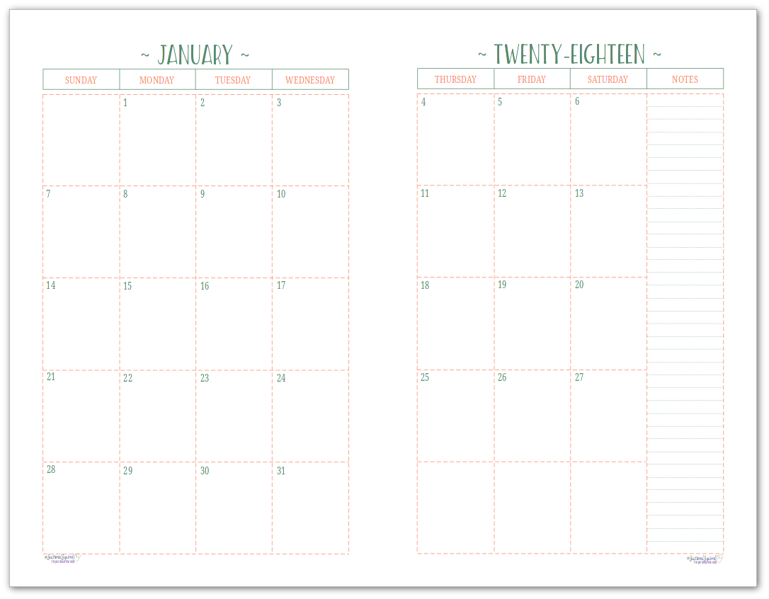 Two Page Per Month Dated Calendars Are Ready