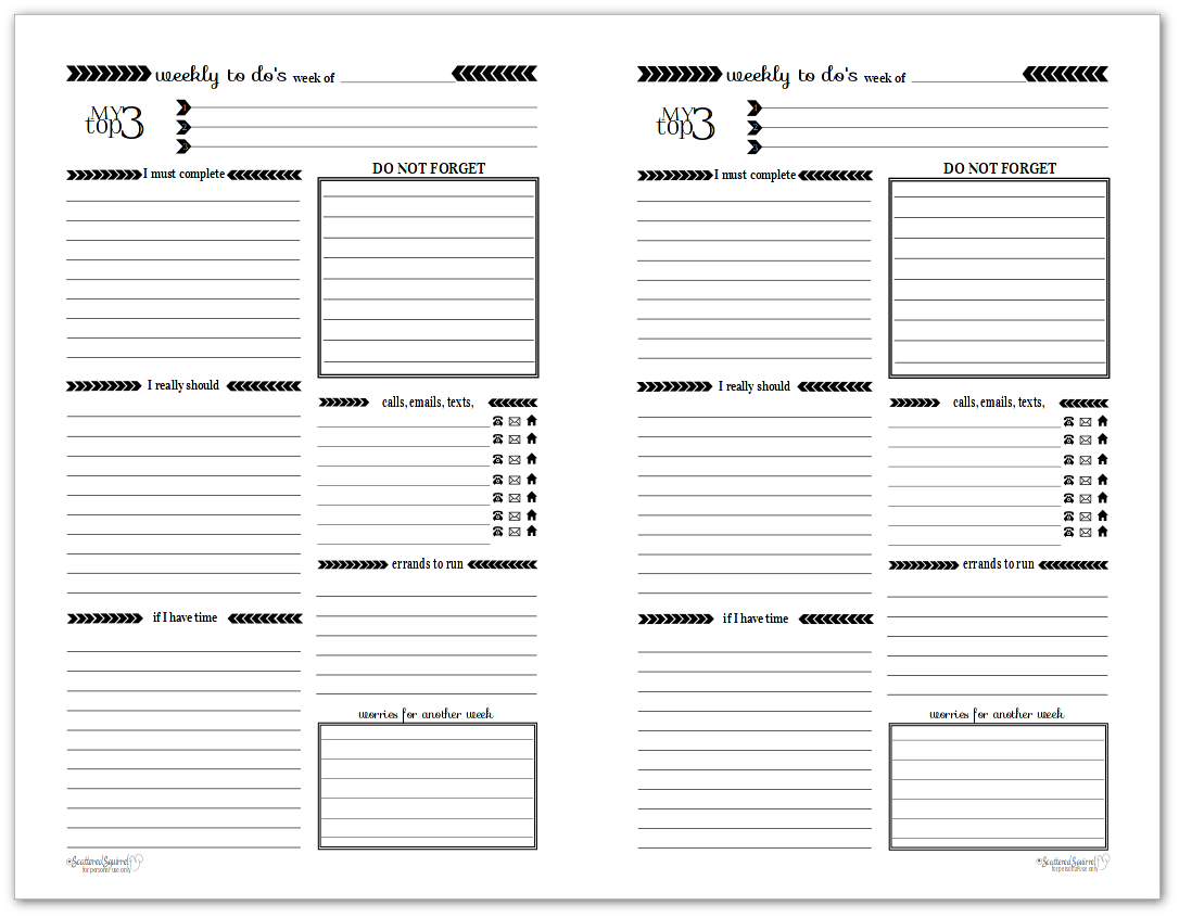Black And White Weekly To Do List Printables