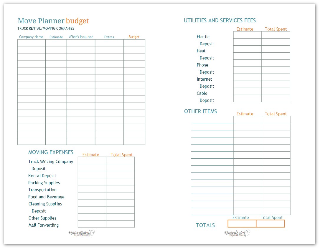 Organize Your House Hunt With Half Size Move Planner Printables
