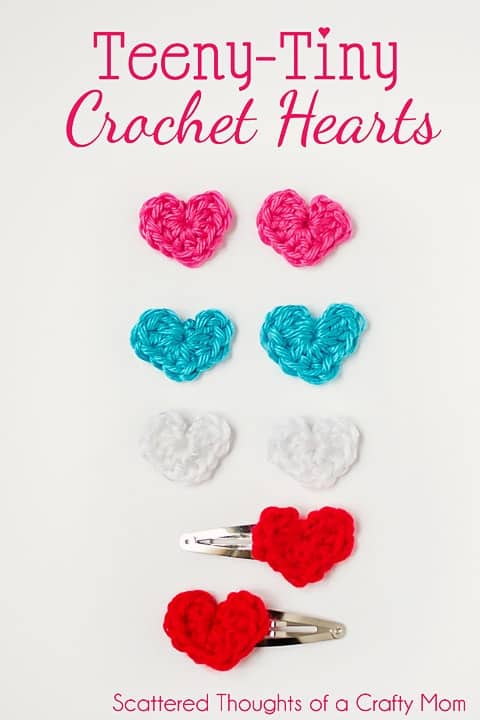 tiny crochet hearts w