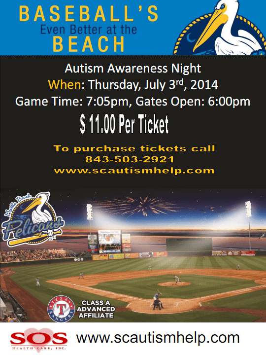Autism Myrtle Beach SC and Pelicans Baseball