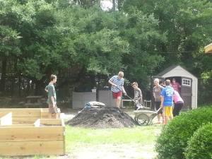 Working hard on our garden!