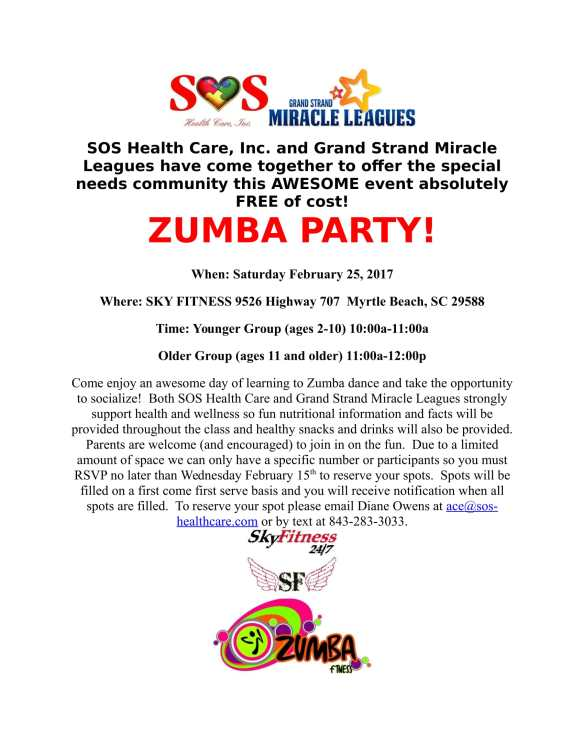 Feb 25 - SOS-Miracle League Zumba Party