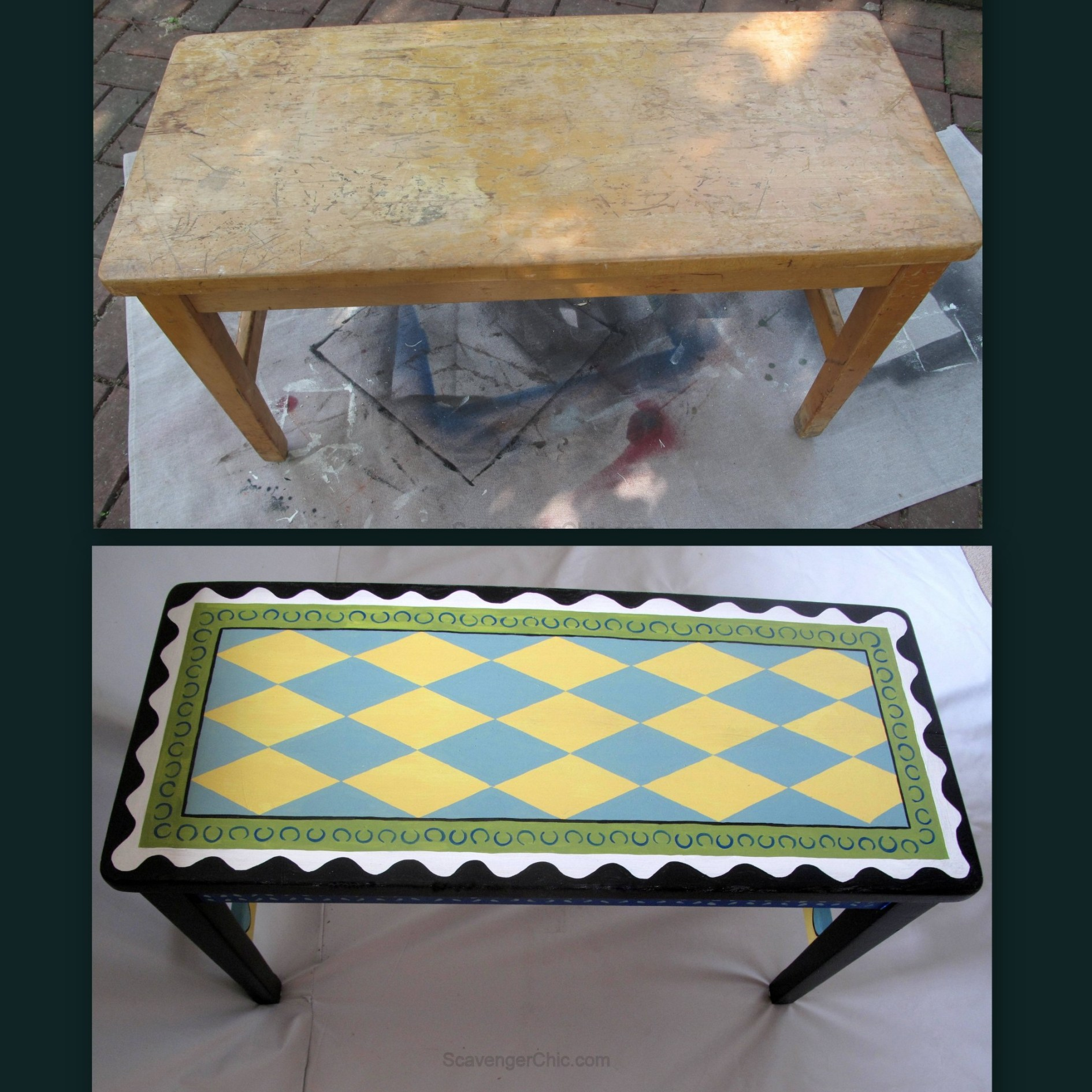 Before and After Painted Piano Bench