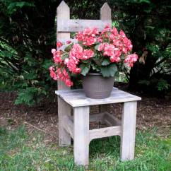 Pallet Wood Chair Steel On Wall Remembering Mom-a Plant Stand - Scavenger Chic