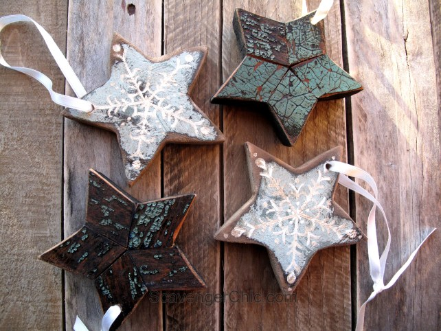 Reclaimed Wood Pallet Wood Christmas Ornaments Stars Scavenger Chic