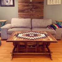 Bourbon barrel Coffee table with copper pipe and storage ...