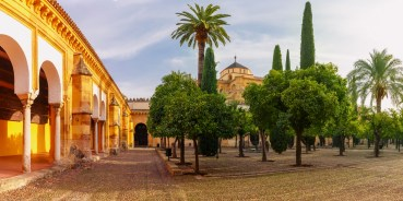 Courtyard of the Great Mosque Mezquita, Catedral de Cordoba, in th sunny day, Cordoba, Andalusia, Spain