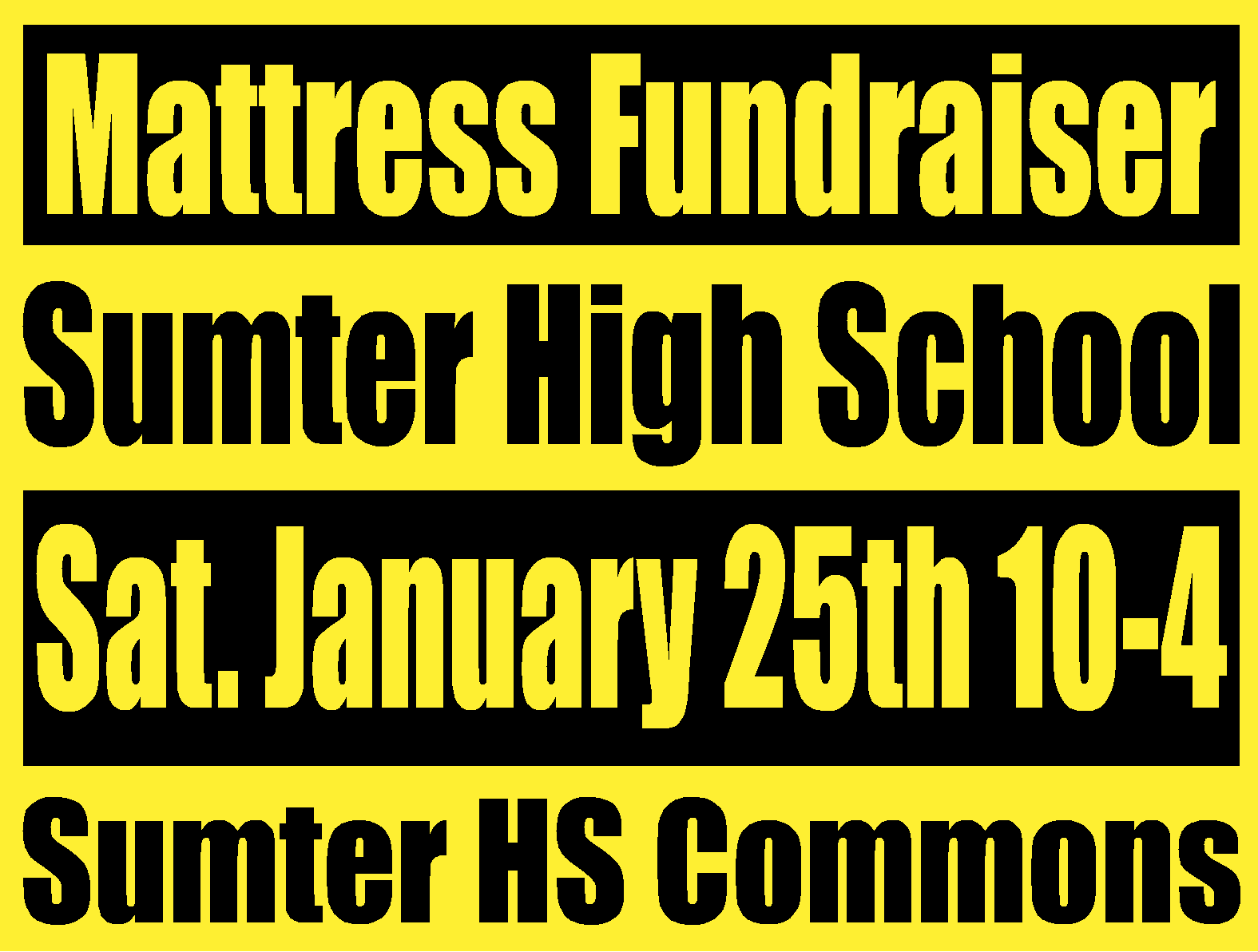 Sumter HS to hold Mattress Fundraiser January 25