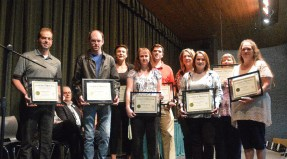 Five year award-winners, from left: Travis Combs, Sandon Hilditch, Aly Call, Jennifer Farmer, Andy Hghfill, Lisa Kennedy, Alex Widener, Sharon Nickelson, Lois Magner.