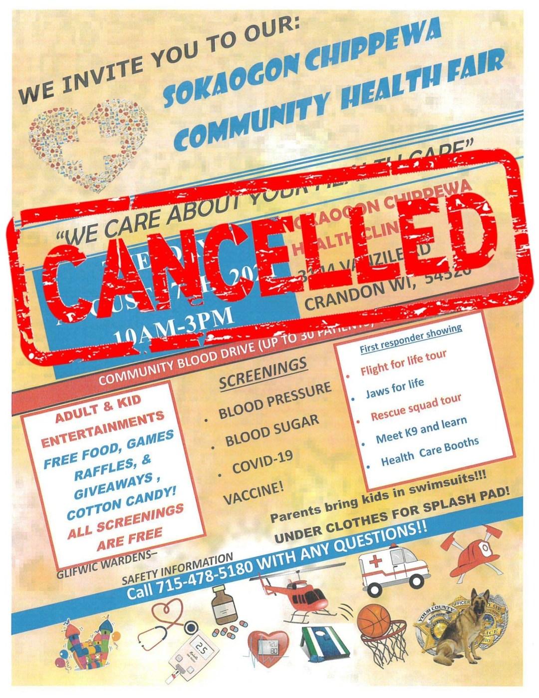 The Sokaogon Chippewa Community Health Fair Has Been Cancelled