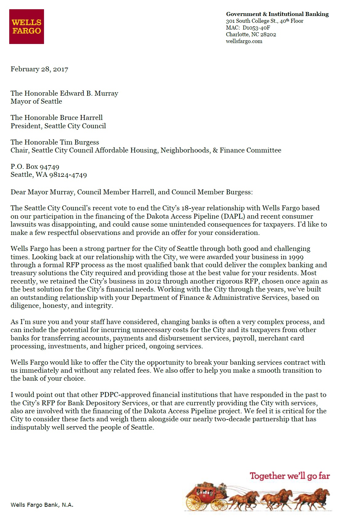 Wells Fargo Sends New Letter To City Offers To End