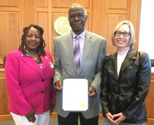 Left to right Kisha Guess, Waccamaw-Georgetown Clinic Director;  Georgetown County Council Chairman Johnny Morant and WCMH Center Board Member Debbie Heller.