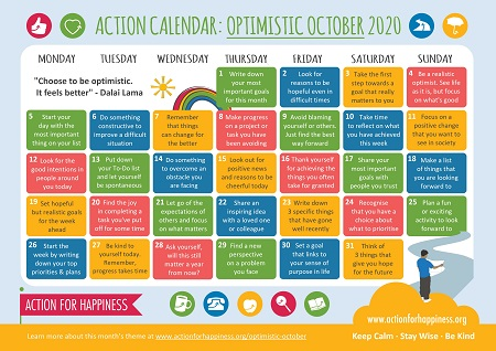 Action for Happiness Optimistic October Calendar