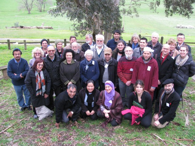 Participants in the 2016 Jewish Christian Muslim Association of Australia Winter Conference (that's me in front with beret)