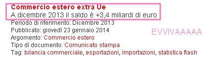SALDO BILANCIA COMMERCIALE 2013