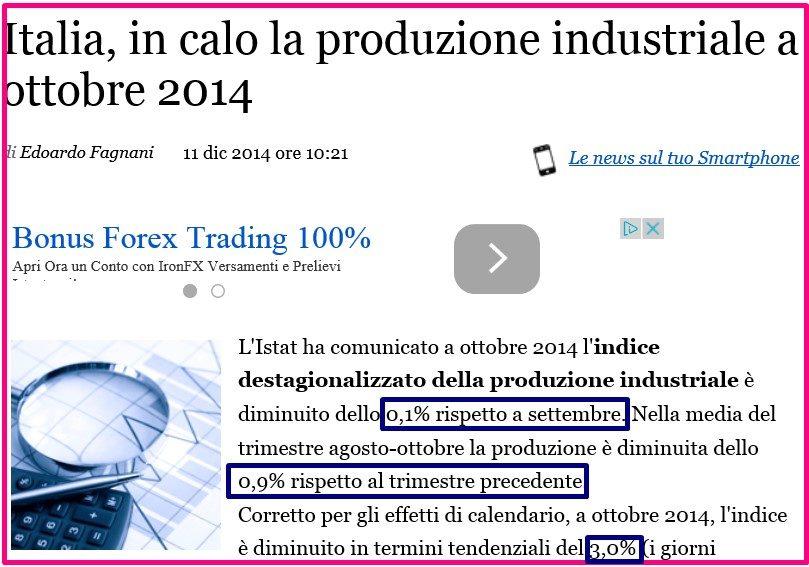 PRODUZIONE INDUSTRIALE QUARTO TRIMESTRE 2014 2