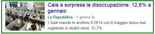 ITALIA DISOCCUPAZIONE GENNAIO 2015 PRIMA