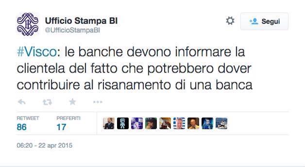 Opsss La Banca d'Italia twitta che i vostri risparmi nei conti correnti possono venir rapinati