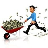 carriola con soldi