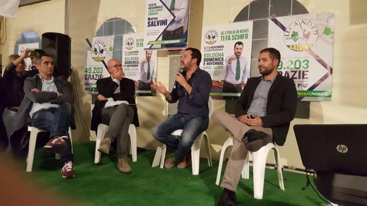 Flash. Salvini parla alla festa della Lega per l'Umbria di Pianello e spara a zero sull'euro (di Maurizio Gustinicchi)